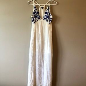 White Maxi Dress with Blue Flowers
